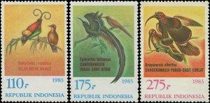 Indonesia 1983 Sc 1210-1212 Bird of Paradise Sicklebill CV $6.50