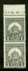 HUNGARY #403 1f gray, DRAMATIC DOUBLE PRINT in pair NH