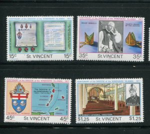 St. Vincent MNH 495-8 Centenary Of Diocese Of Windward Island 1977