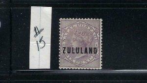 ZULULAND SCOTT #13 1888-94 NATAL  6P OVERPRINT ZULULAND - MINT  HINGED