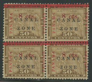 CANAL ZONE #18, 18a 8c 1905 BLK/4 ZONE & ANTIQUE TYPE VF-XF OG LH W/ PFC BV1957