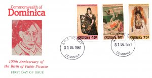 Dominica 739-741 Paintings U/A FDC