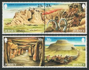 Jersey 666-669a pairs,MNH.Michel 650-653. EUROPE CEPT-1994.Paleolithic hunters,