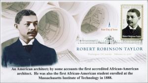 New 2015, Robert Robinson Taylor, Black Heritage, Digital Color Postmark, FDC