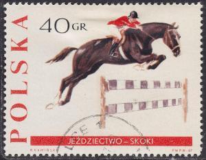 Poland 1476 Hinged 1967 Horse Jumping 40GR