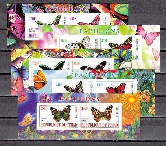 Chad, 2010 Cinderella issue. Butterflies on 5 IMPERF s/sheets of 2.
