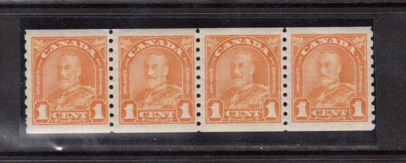 Canada #178 XF/NH Coil Strip Of Four