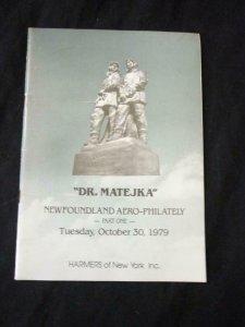 HARMERS LONDON AUCTION CATALOGUE 1979 DR MATEJKA NEWFOAND AERO-PHILATELY 1