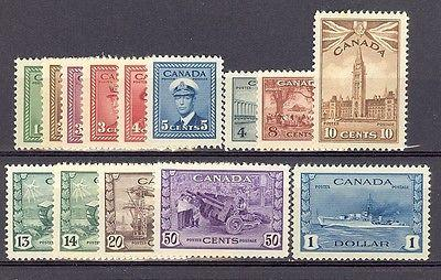 Canada #249-62  MINT VF lightly hinged
