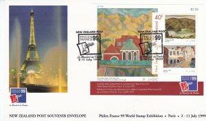 NZFD589) NZ 1999 Paris - Doris Lusk Souvenir Envelope M/S FDC