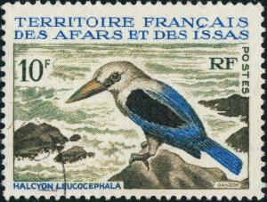 AFARS & ISSAS - 1967 - Yv.329 / Mi.1 10fr Halcyon Leucocephala - Obl. TB