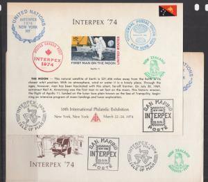 US 1974 ASDA Cache Cover & Souvenir Card Interpex 74  with Fancy Cancels VF