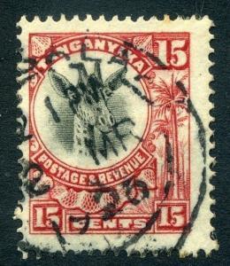 TANGANYIKA; 1923 early Giraffe type issue 15c. fine used value