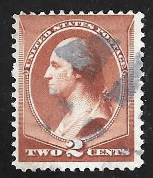 210 2 Cent Fancy Cancel Washington Red Brown Stamp Used F