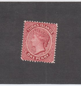 TURKS ISLANDS # 1 VF-MLH 1p ROSE CAT VALUE $67.50