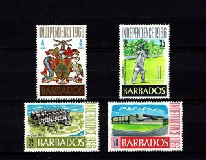 BARBADOS - 1966 - INDEPENDENCE - ARMS - CRICKET - HILTON HOTEL + MINT MNH SET!