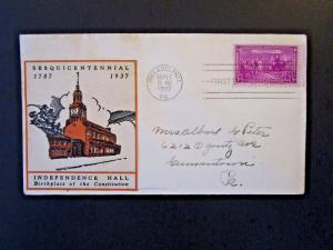 United States SC# 798 FDC / Independence Hall Cachet - Z5185