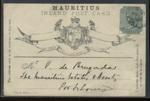 Mauritius 1896 Post Card with Sports Club cachet used with 10 cents stamp