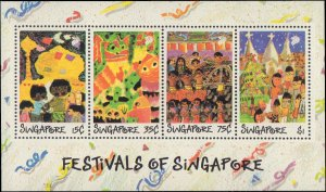 Singapore #552-555a, Complete Set(5), 1989, Art, Children, Never Hinged