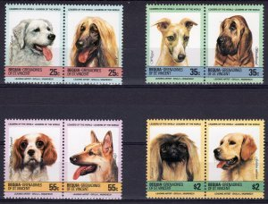 Bequia St.Vincent Grenadines 1985 DOGS (4) Pairs 8 values Perforated Mint (NH)