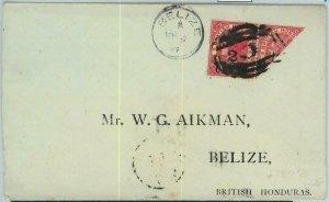 BK0416 - British Honduras - POSTAL HISTORY - SG # 25b BISECTED on COVER 1891