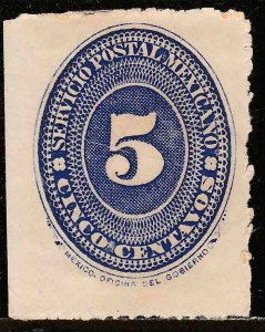 MEXICO 216, 5¢ LARGE NUMERAL WATERMARKED, Unused H OG. F-VF.. (114)
