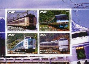 Ivory Coast 2004 TRAINS & LOCOMOTIVES Sheet Perforated Mint (NH)