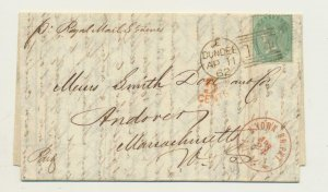 GB SCOTLAND 1862 LETTER MARKET REPORT FOREIGN TRANSMISSIONS 1sH RATE+ 5c MK