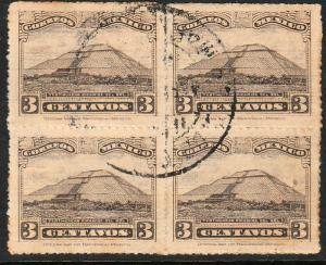 MEXICO 651, 3cents, PYRAMID OF THE SUN, BLOCK OF 4, USED. F-VF.  (4)