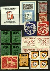 Worldwide range stamp show, philatelic exhibition labels (10v) Fine Cinderrellas