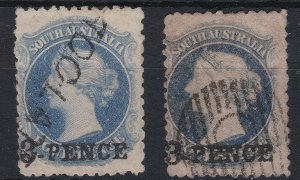 SA251) South Australia 1868-79 perf 11½-12½ 3d on 4d surcharge, on sky blue