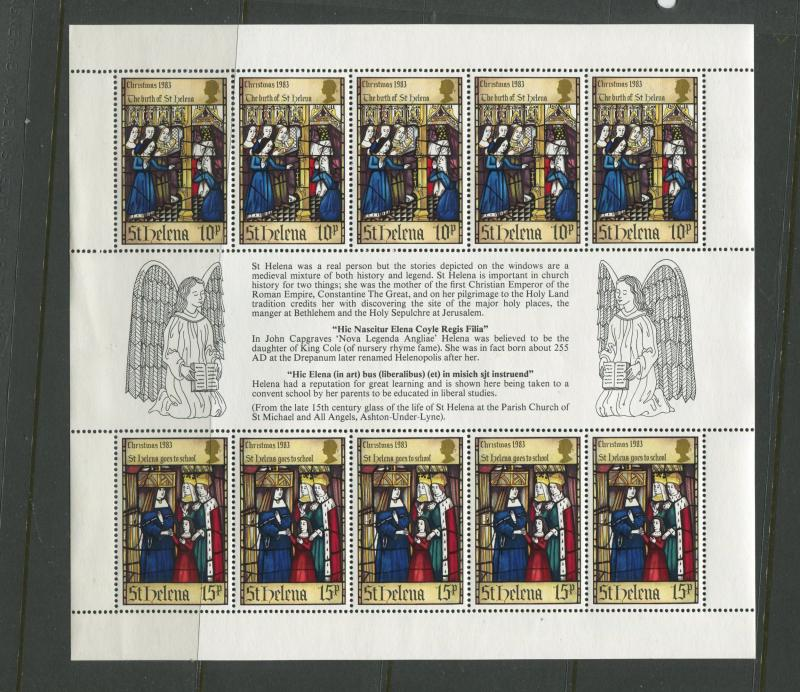 St.Helena - Scott 398 - Christmas Issue -1983 - MNH -Souvenir Sheet of 10 Stamps