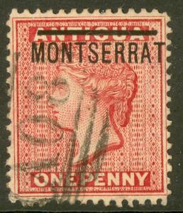 MONTSERRAT 1876 QV 1d Red Portrait Issue Sc 1 VFU