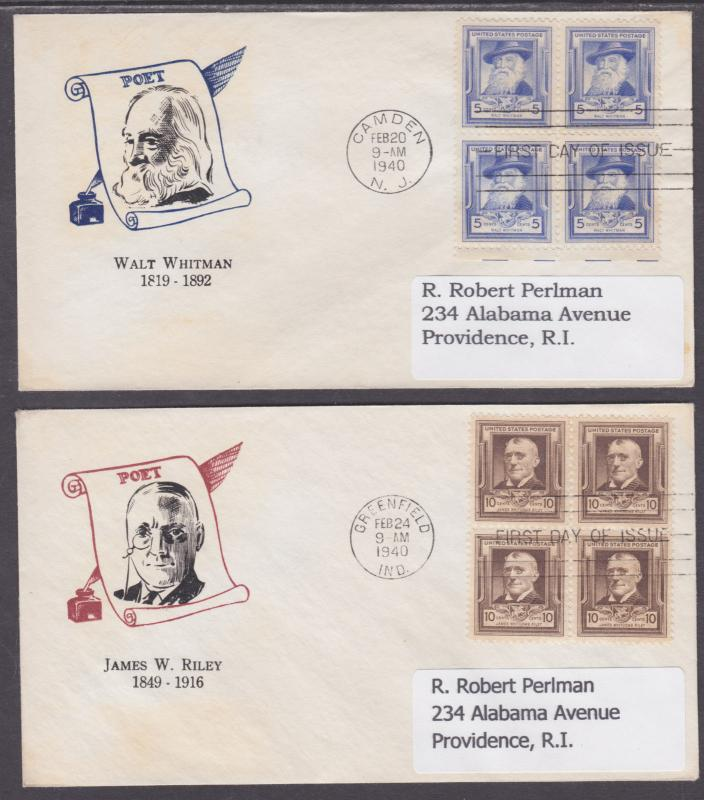 US Sc 864-868 FDCs. 1940 Famous American Poets, Blocks cplt on matched FDCs