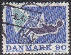 DENMARK SCOTT# 485 USED  90o 1971 SAILING    SEE SCAN