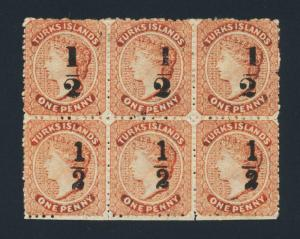 TURKS IS 1881, ½d on 1d BLOCK(6) SETTINGS 9 & 10, VF MINT SG#17+18 (SEE BELOW)