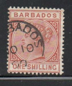 Barbados Sc 67 1882 1/  orange brown Victoria stamp used