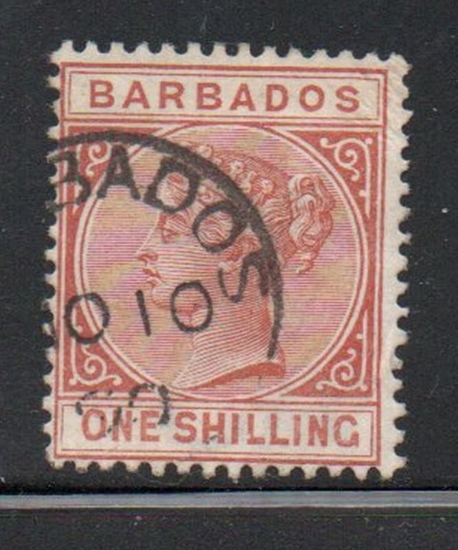 Barbados Sc 67 1882 1/  orange brown Victoria stamp used