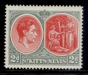 ST KITTS-NEVIS GVI SG71c, 2d scarlet & pale grey, VLH MINT. CHALKY