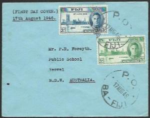 FIJI 1946 Victory set on FDC - PO / BA FIJI cds............................61753