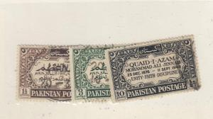 PAKISTAN  # 44-46  VF-USED 1 1/2,3,10a GREAT LEADER BRN/GRN/BLK CAT VALUE $12