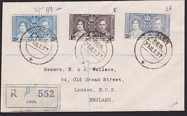 ADEN 1937 Coronation set on registered cover................................7448