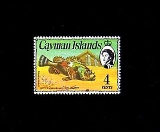 CAYMAN IS - 1974 - FISH - SPOTTED SCORPIONFISH - CROWN - MINT - MNH - SINGLE!