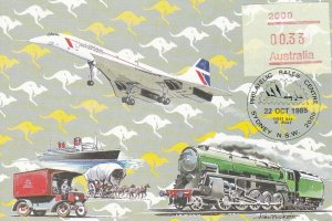 MXC86A) 1985, Australia, Plane, Train, Ship, Truck, Horse and Cart with Kangaroo