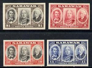 Sarawak 1946 Centenary set of 4 imperf proofs in issued c...