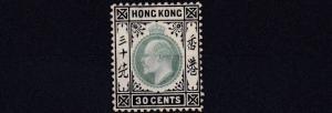 HONG KONG  1904 - 06    SG 84A  30C  GREEN & BLACK    MH    CAT £70