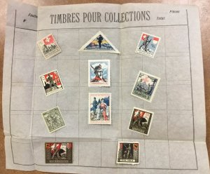 Lot of 11 different Switzerland WWI Feldpost Soldier Stamps 1914-18