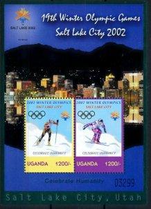 [101506] Uganda 2002 Olympic winter games Salt Lake City skiing Sheet MNH