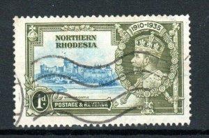 Northern Rhodesia 1935 1d Silver Jubilee dot by flagstaff variety FU