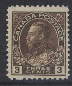 Canada - Scott 108 - KGV Definitive - 1911 - MH - Single 3c Stamp